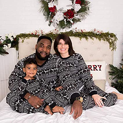 2508719284 WensLTD Family Matching Xmas Pajamas Set - Women Men Girls Boys Reindeer Tops  Blouse Pants Family