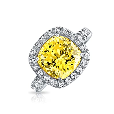 4370110424b20 3CT Canary Yellow Square Cushion Cut CZ Cubic Zirconia Statement Engagement  Ring Halo CZ Pave Band 925 Sterling Silver