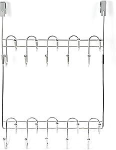 DoorShroom Door Clothing Hanger 20 Hook Modular Rack, Chrome