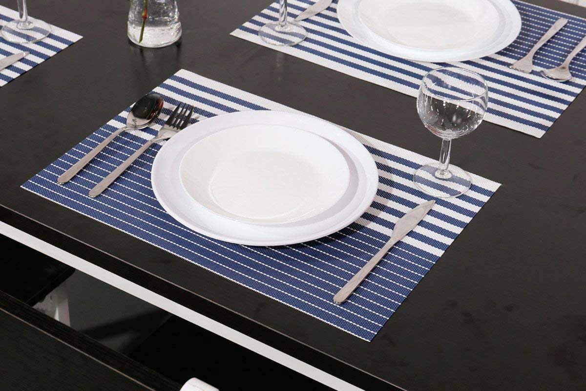 NJCharms Placemats Set of 4, Heat Resistant Washable Nautical Blue Placemats for Dining Kitchen Table Environmental PVC Wipeable Crossweave Vinyl Woven Placemats Table Mats Easy to Clean, Navy Blue by NJCharms (Image #2)