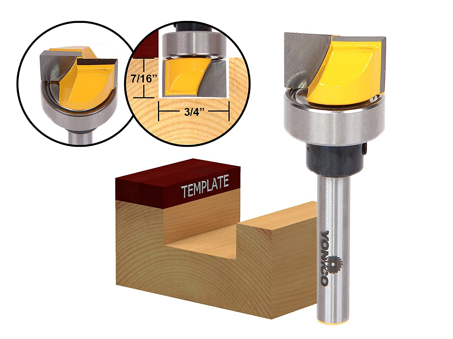 Yonico 14170q Hinge Mortisetemplate Router Bit With 34 Inch X 7