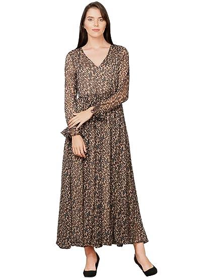 868b2eaa9744 Pitara Women s Printed Chiffon Maxi Dress (Brown)  Amazon.in ...
