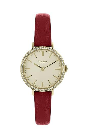 L K Bennett LK2006 - Reloj de pulsera para mujer, correa de piel color rojo