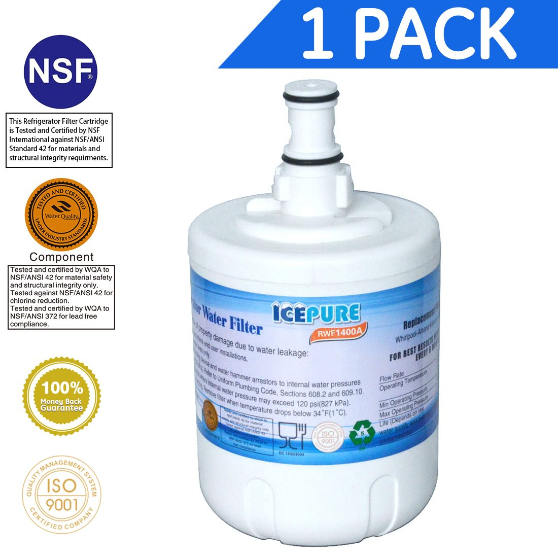 Icepure RWF1400A Refrigerator Water Filter Compatible with Whirlpool 8171413, 8171414 ,Filter 8, 1PACK