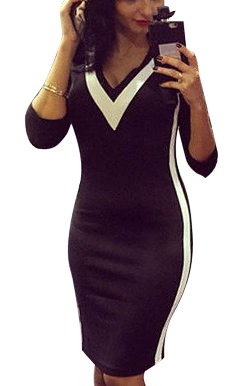 Fanala Womens Black Long Sleeve Deep V Neck Bodycon
