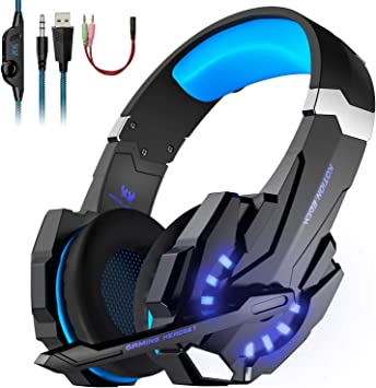 PREUP Auriculares Gaming Cascos PS4, Micrófono Control de Volumen ...