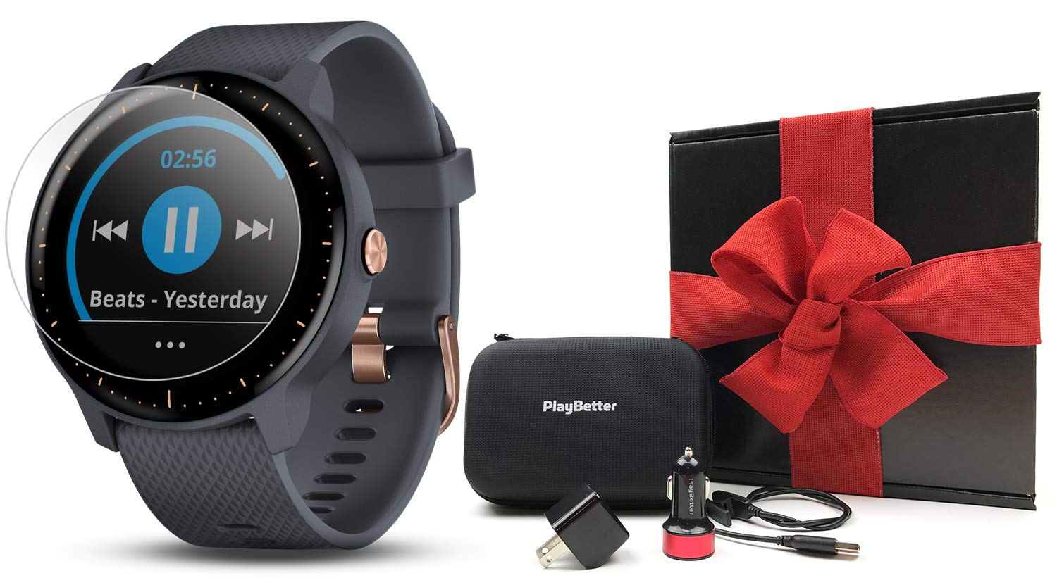 Garmin vivoactive 3 Music Gift Box Bundle | with HD Screen Protector (x4), PlayBetter USB Wall & Car Charging Adapters, Hard Case | Multi-Sport Fitness GPS Watch | Gift Box (Music - Blue/Rose Gold) by PlayBetter