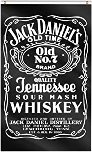 Lomond Jack Daniel's Bar Flag Old No.7 Sour Mash Whiskey Flag 3x5 Feet Deluxe Vertical Banner Decoration for College Dorm Room Decor,Outdoor,Parties,Gift,Tailgates