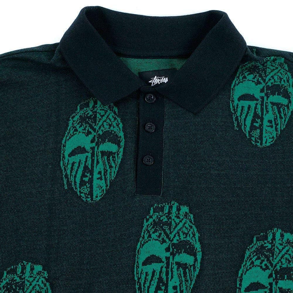 8adecaec Stussy Mask Long Sleeved Polo Shirt Black Medium: Amazon.co.uk: Clothing
