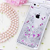 KC iPhone 6 & iPhone 6s Back Cover - Shiny Waterfall motion bling Gittter Sparkle Liquid Crystal Glitter 3D Bling Thin Hard Back Cover for iPhone 6s & 6 - Silver