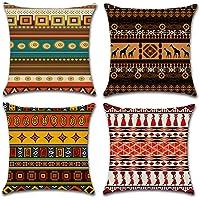 HuifengS - Fundas de cojín cuadradas de lino - decorativas, para sofás o camas - con motivo…