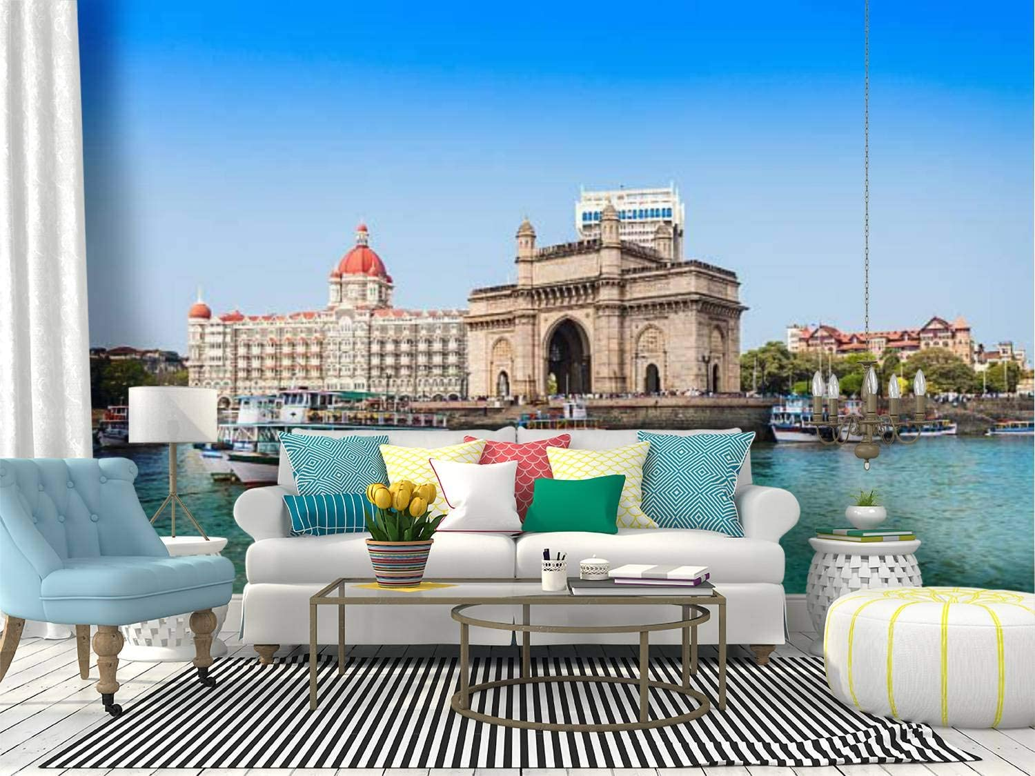 Amazon Com Self Adhesive Wallpaper Roll Paper Taj Mahal Hotel And Gateway Of India Famous Touristic Town Stock Removable Peel And Stick Wallpaper Decorative Wall Mural Posters Home Covering Interior Film Home