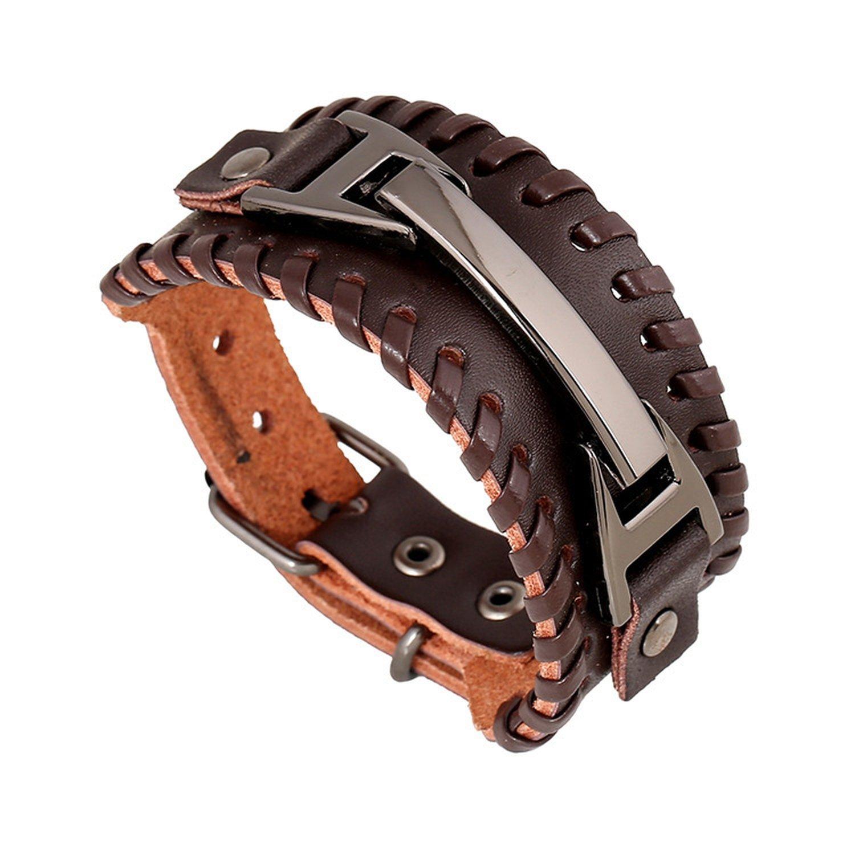 B dressy Braided Leather Bracelets for Men Women Woven Cuff Bracelet Adjustable,brown