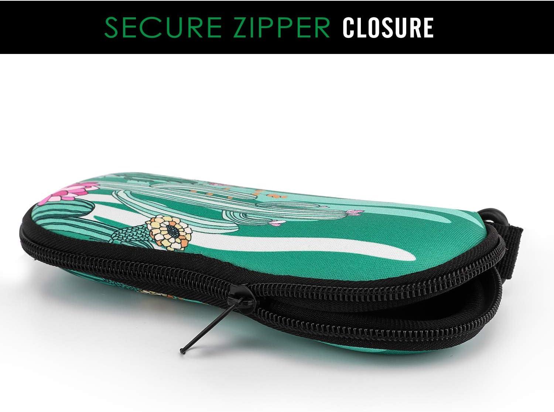 Pencils Neoprene Zippered Eyeglass Storage Case with Belt Clip for Eyewear MoKo Sunglasses Soft Case, Ultra Lightweight Frames Carrying Pouch Case Makeup Bag for Keys Cactus Cards