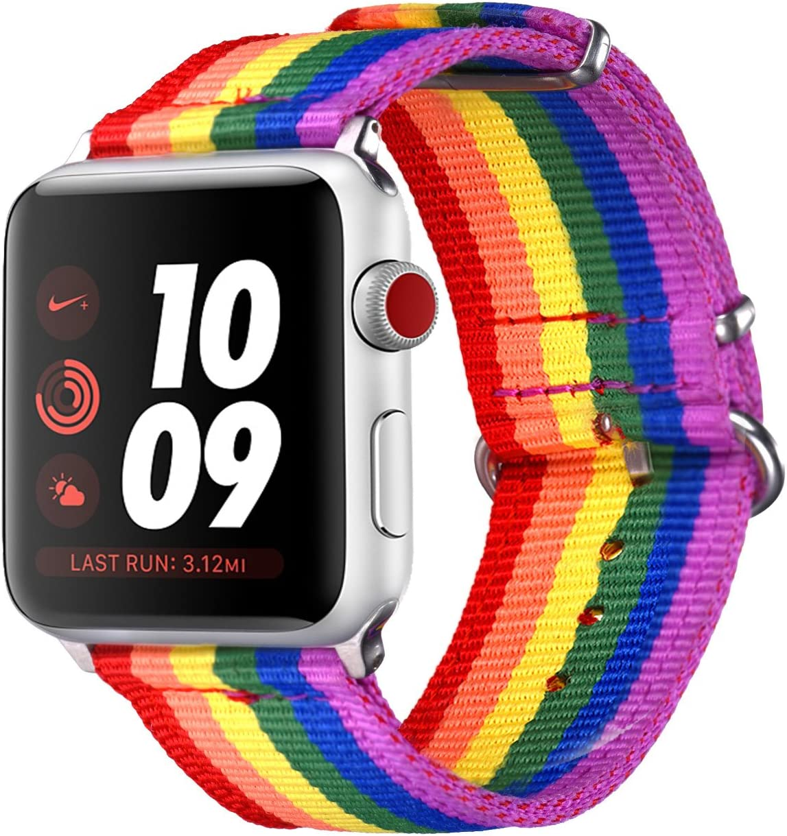 Bandmax Compatible for Rainbow LGBT Apple Watch Bands 42MM 44MMN Nylon Fabric Cloth Sport Straps Women Men Gay Pride Replacement Wristband Accessories Upgrade Metal Buckle for iwatch Series 5/4/3/2/1