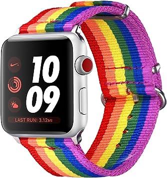 Correa para Watch Series 3/2 / 1, Bandmax 42mm LGBT Orgullo 6 Colores Arco Iris Watchband