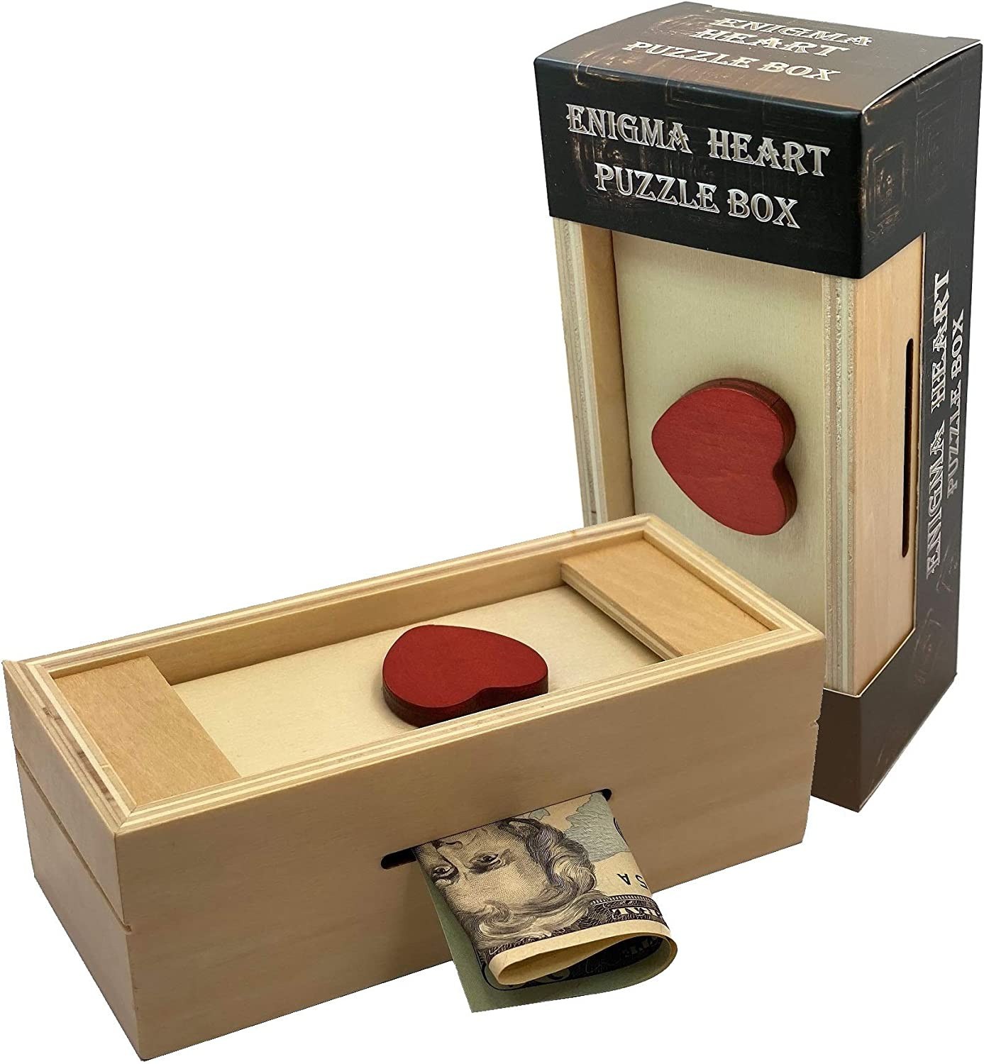 Puzzle Box Enigma Heart Secret - Money and Gift Card Holder in a Wooden Magic Trick Lock with Hidden Compartment Piggy Bank Brain Teaser Game