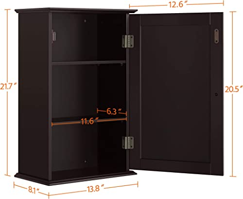 YAHEETECH Wall Mounted Medicine Cabinet with Single Door and Adjustable Shelves, Bathroom Storage Organizer, 13.8in L x 8.1in W x 21.7in H, Espresso