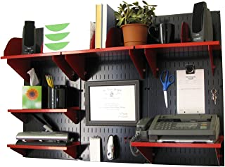 product image for Wall Control Office Organizer Unit Wall Mounted Office Desk Storage and Organization Kit Black Wall Panels and Red Accessories