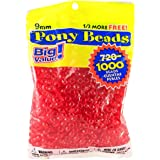 Darice 9mm Value Pack Pony Bead, Transparent Red