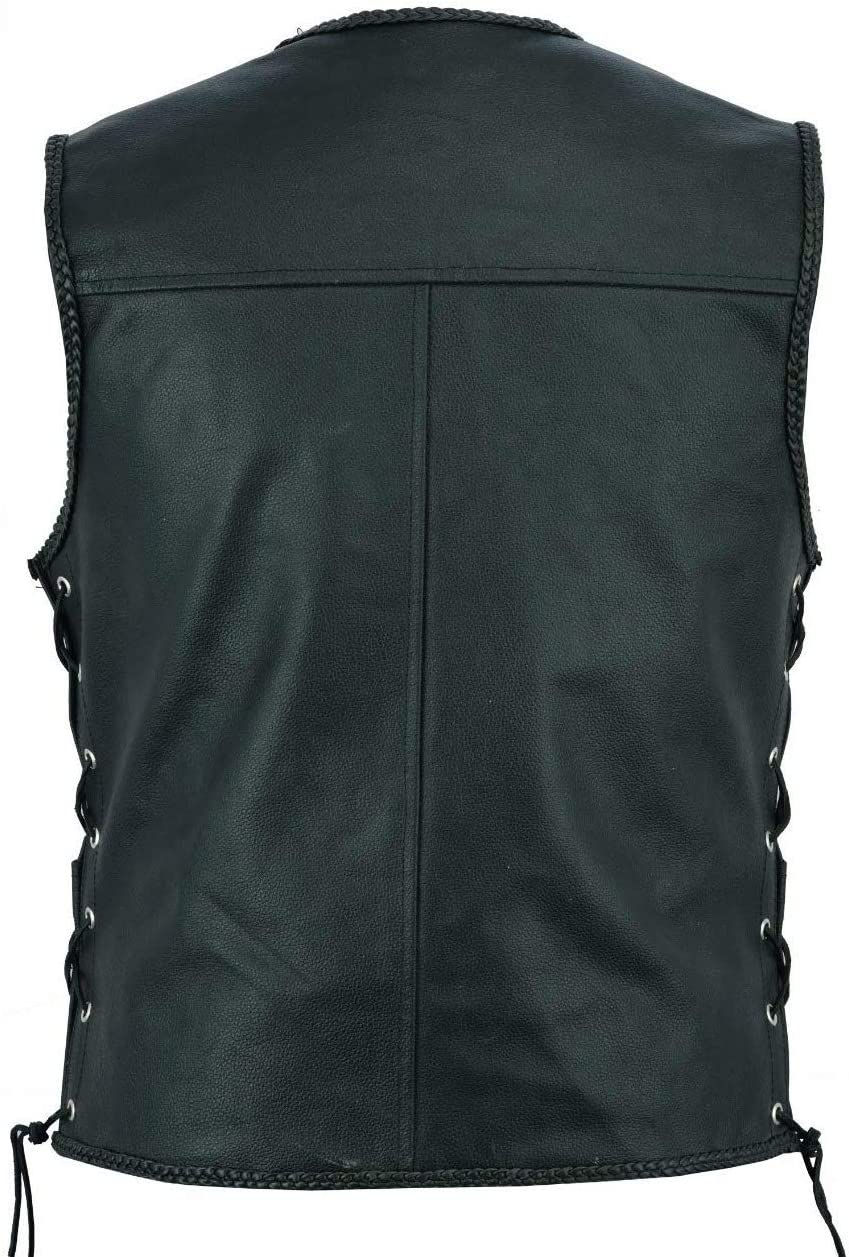 Men/'s Motorbike Motorcycle Real Leather Button Side Laced Fish Hook Pocket Waistcoat Vest Biker Fashion