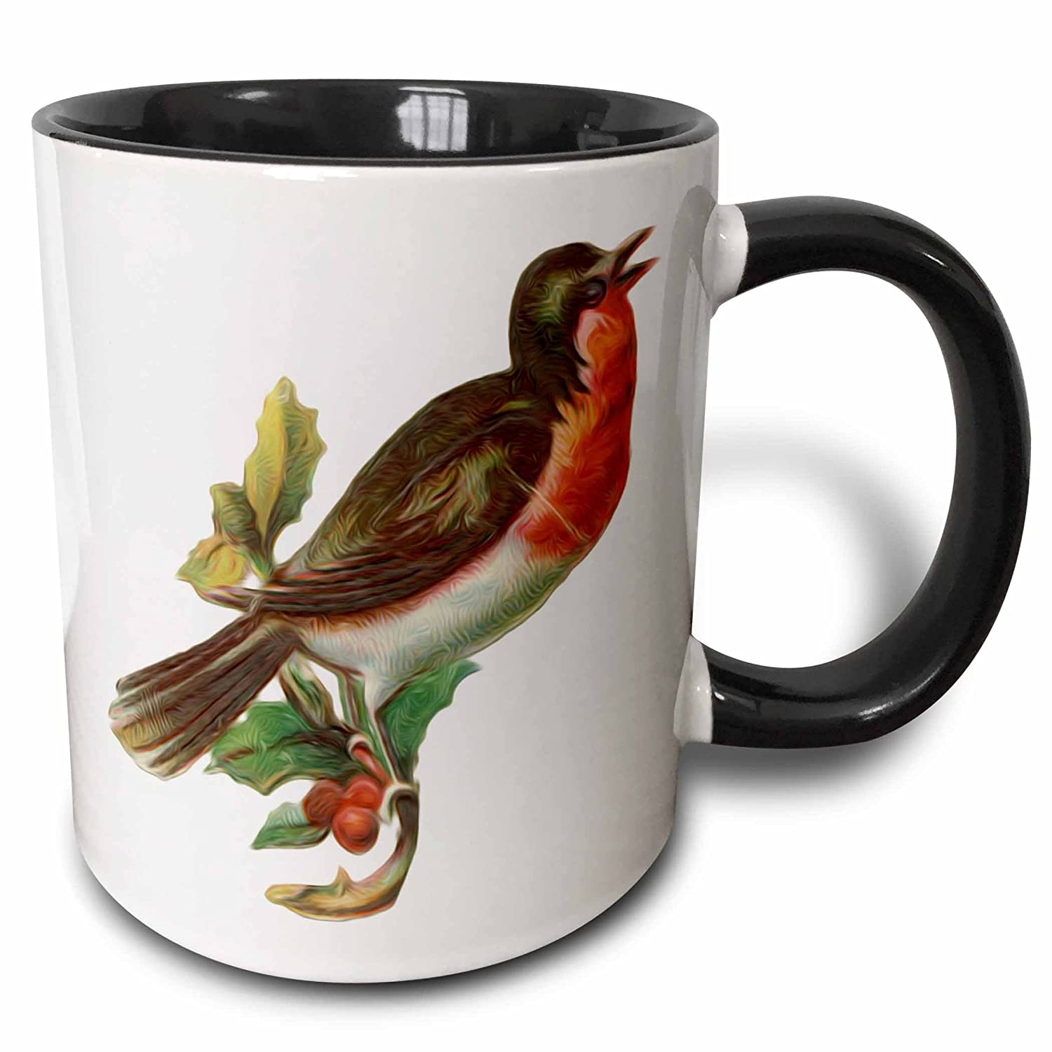 11 oz 3dRose 104662/_4Vintage Red-Breasted Robin Perched On Holly Branch Bird Illustration Two Tone Mug Black//White