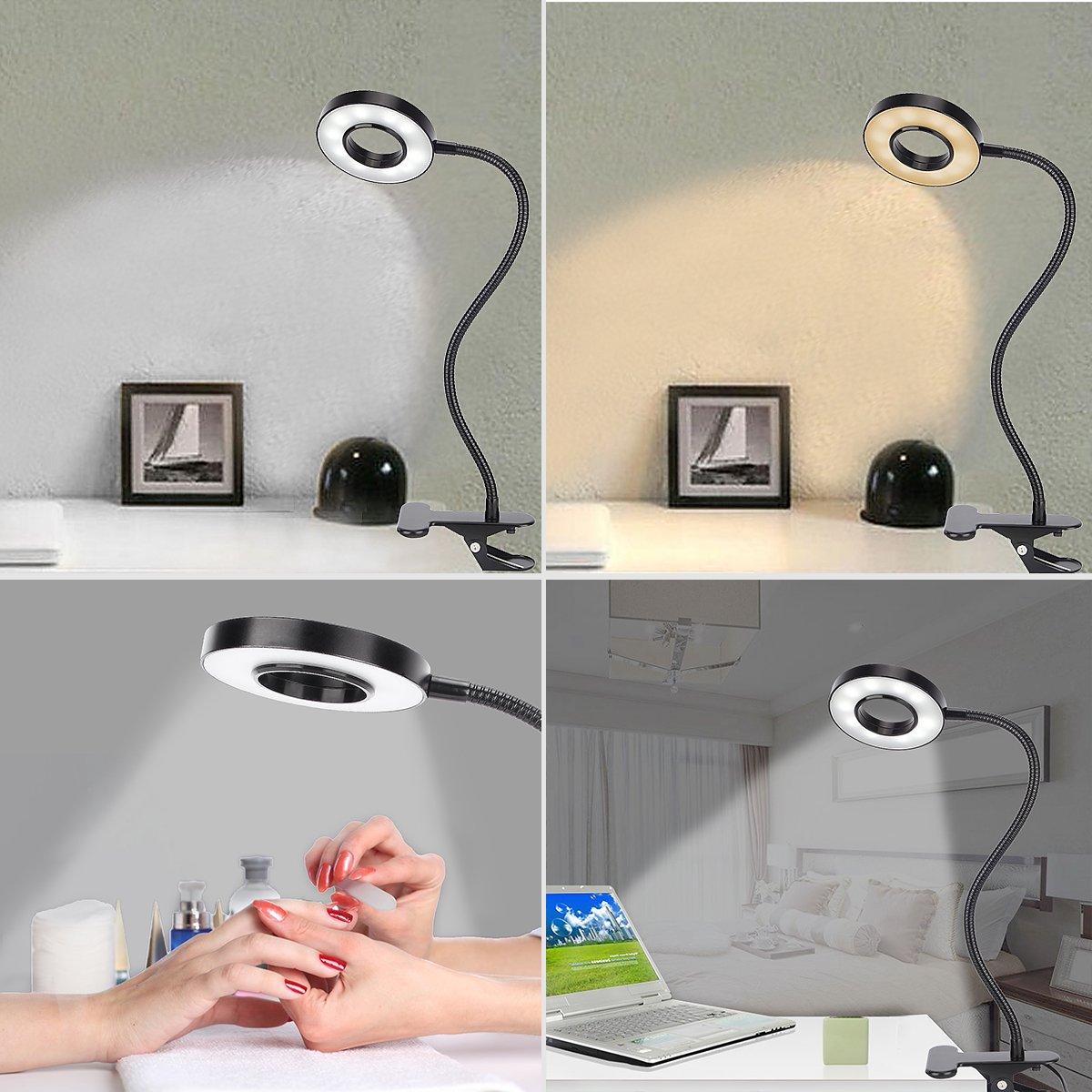 Kernorv Clip on Light/Reading Lights, 5W LED USB Dimmable 5 Color Modes Clip on Light Adjustable Brightness Portable Bed Reading Light Clip Lights for Bed Desk Headboard by Kernorv (Image #2)