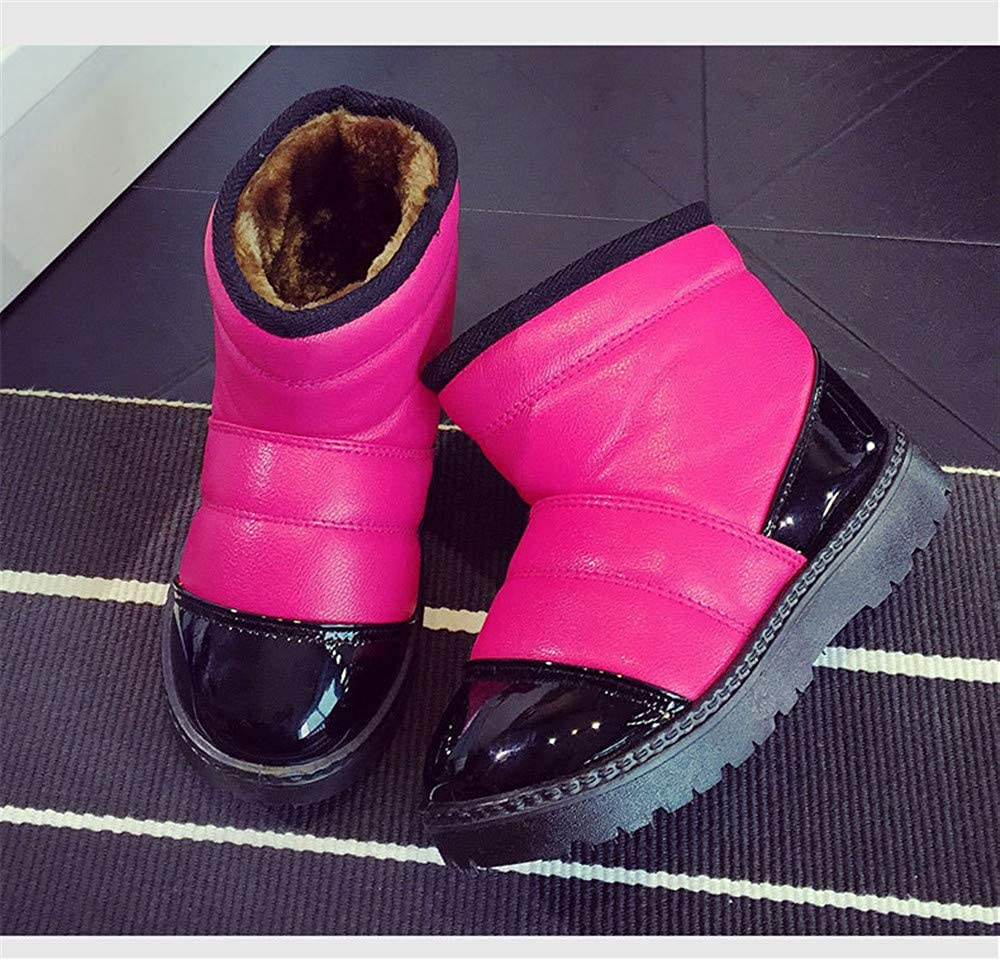 BeautyOriginal Girls Leather Outdoor Waterproof Fur Lined Winter Snow Boots