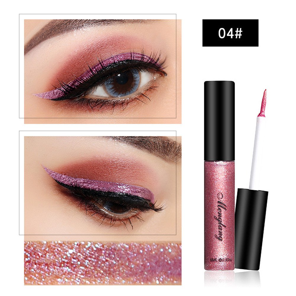 1PC Chameleon Metallic Shiny Smoky Eyes Eyeshadow Waterproof Glitter Liquid Eyeliner Metallic Natural Long Lasting Eyeliner D