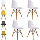 Cosy7 Luna Collection Eiffel Style DSW Modern Dining Chairs White Set of 4 | Solid Beech Wooden Legs, Comfy Seat, Well Blended Colours | For Living Room, Patio, Terrace, Office, Kitchen, Lounging