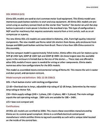 Elimia DOL 5.5-8-480LC 5 HP 480V Magnetic Motor Starter Nema 4X Industrial NEW!