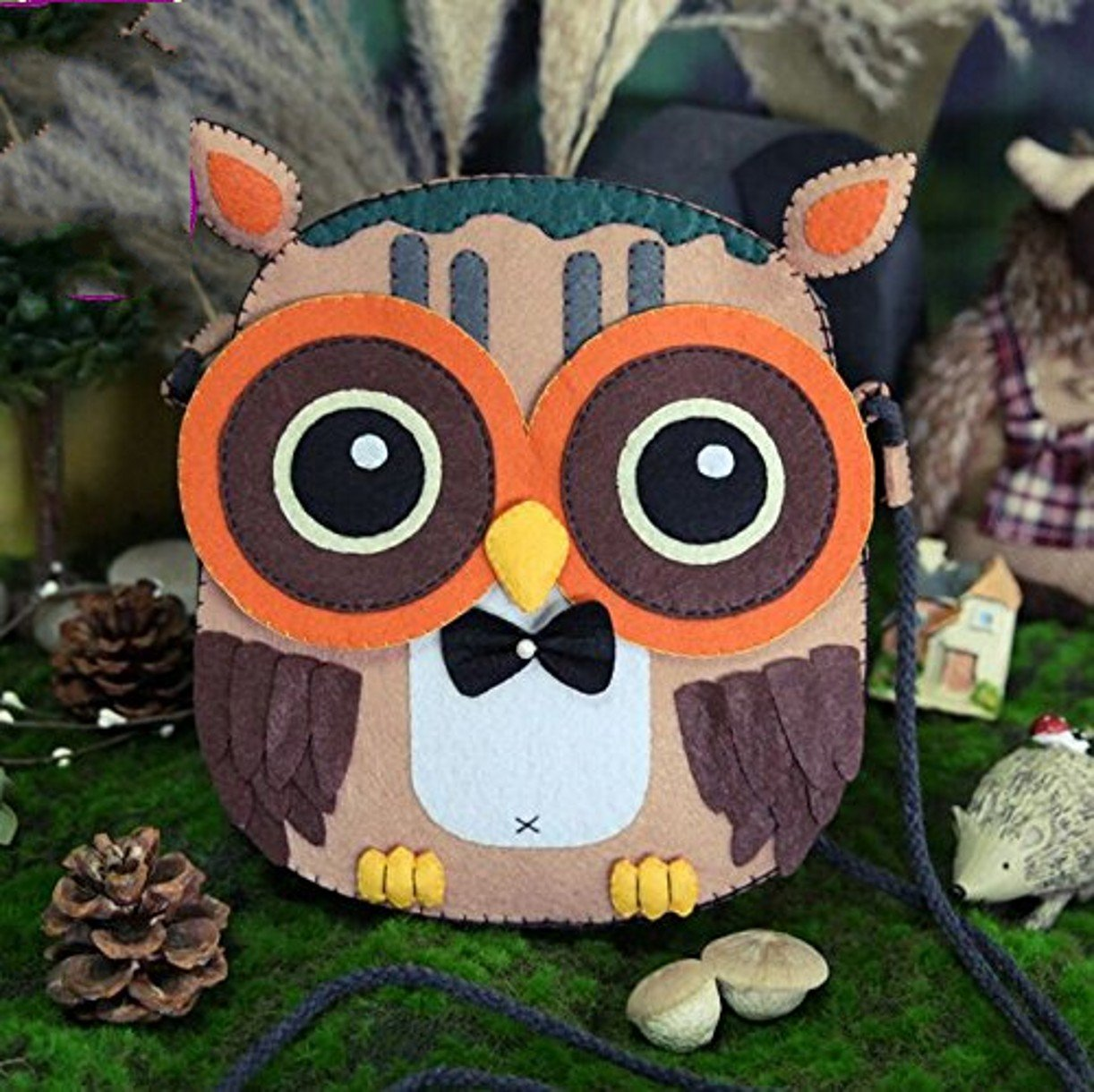 DIY Sewing Polyester Felt Nonwoven Fabric Craft Kit Doll Kits : Make Your Own owl satchel bag CYD