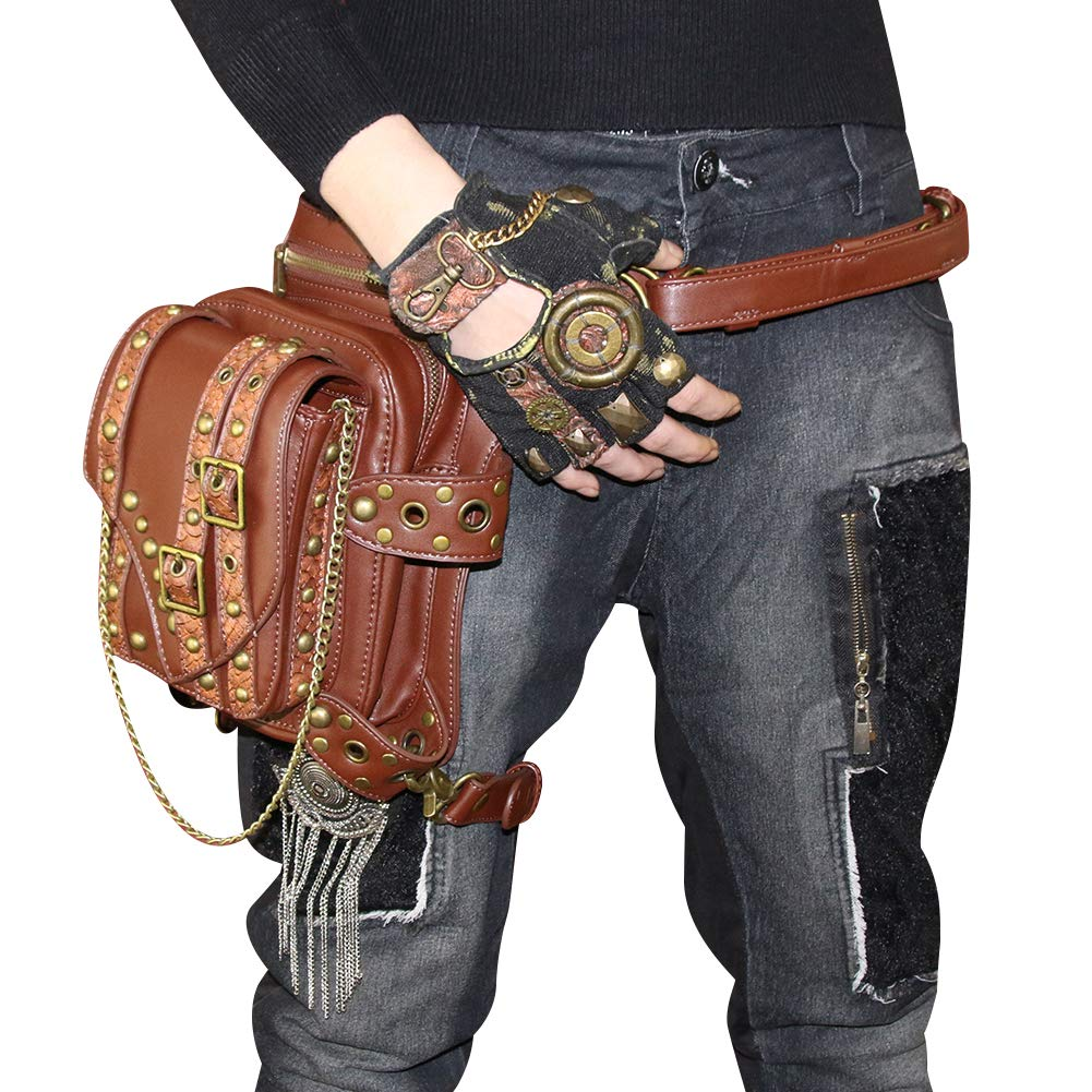 GearDuke Brown Retro Women Gothic Leather Steampunk Bag Rock Gothic Goth Shoulder Waist Bags Packs Victorian Style for Women Men Leg Thigh Holster Bag