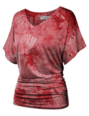 4170879daf2d BIADANI Womens Short Dolman Sleeve V-Neck Solid Shirring Drape Tunic Top  Shirt Print Wine 3X-Large at Amazon Women's Clothing store: