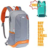 Quechua Outdoor Backpack Daypack Hiking Camping Cycling Travel bag Arpenaz 20L Gray + 10L Mint