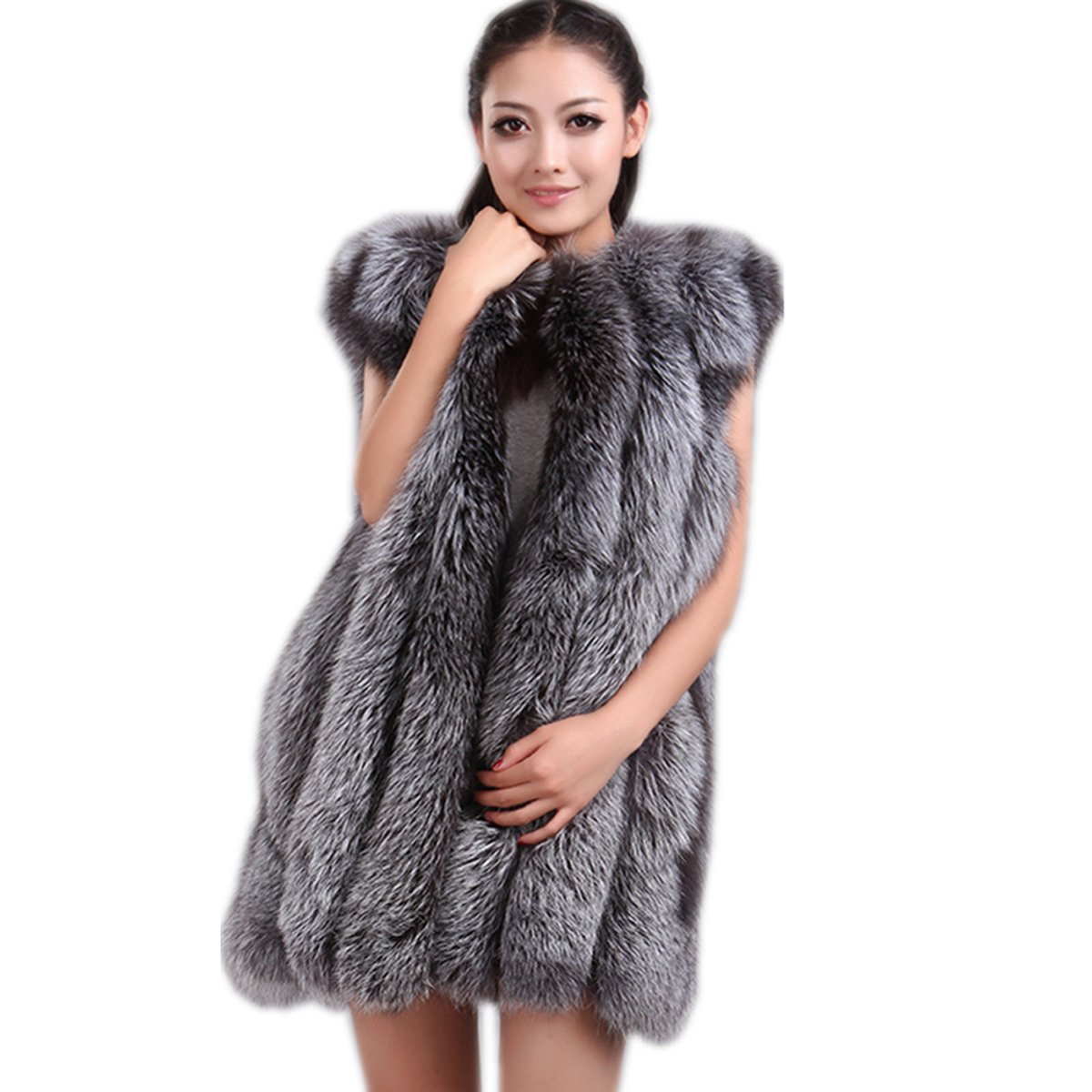 Top Fur Winter Whole Skin Silver Fox Fur Vest Gilet Waistcoat US 12