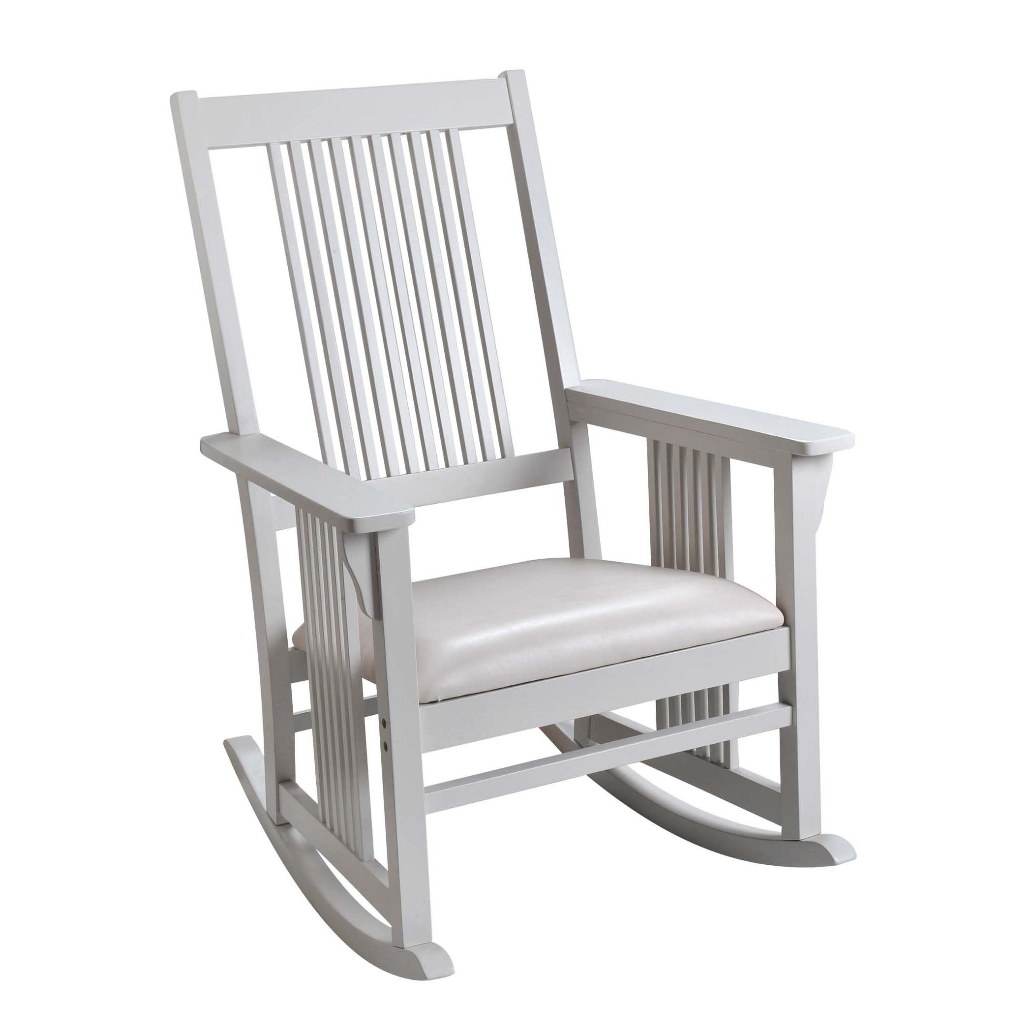 Giftmark Mission Style Rocking Chair with Upholstered Seat, Style A, White