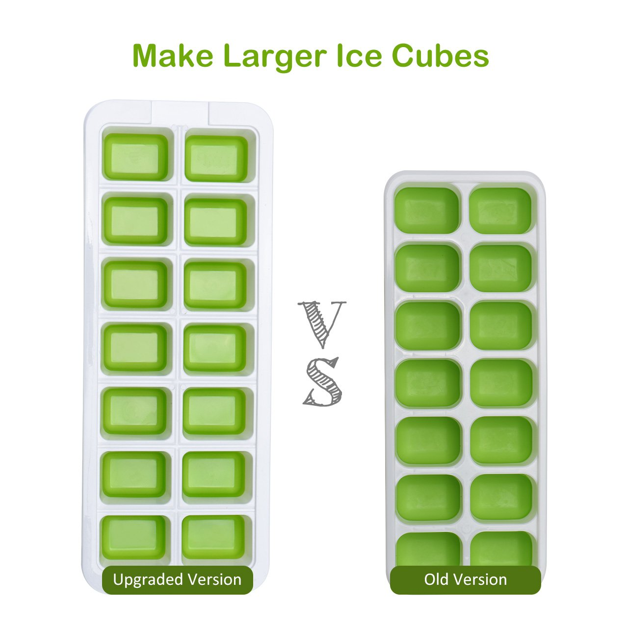 BPA Free LFGB Certified OMorc Ice Cube Trays 2 Pack Dishwasher Safe and Stackable Durable Easy-Release Silicone and Flexible 14-Ice Trays with Spill-Resistant Removable Lid