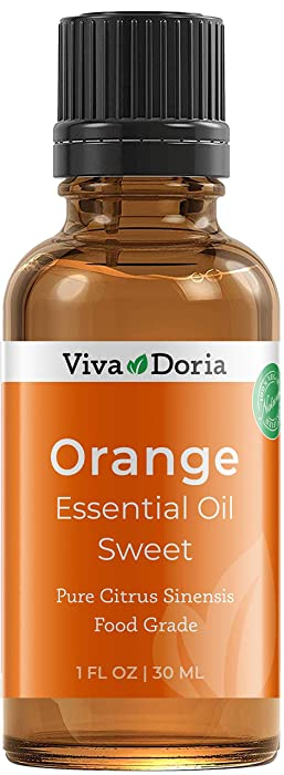 Viva Doria 100% Pure Sweet Orange Essential Oil, Undiluted, Food Grade, Southeast - USA Orange Oil, 30 mL (1 Fl Oz)
