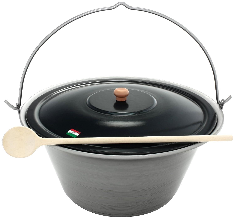 Grillplanet® Gulaschkessel 30 Liter Eisen und Deckel, original in Ungarn hergestellt
