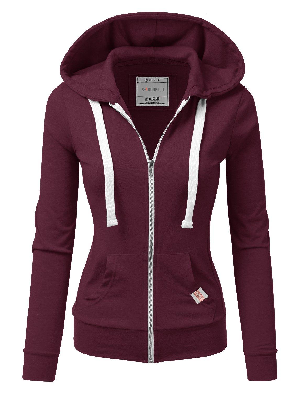 Doublju Lightweight Thin Zip-up Hoodie Jacket for Women with Plus Size Plum Medium