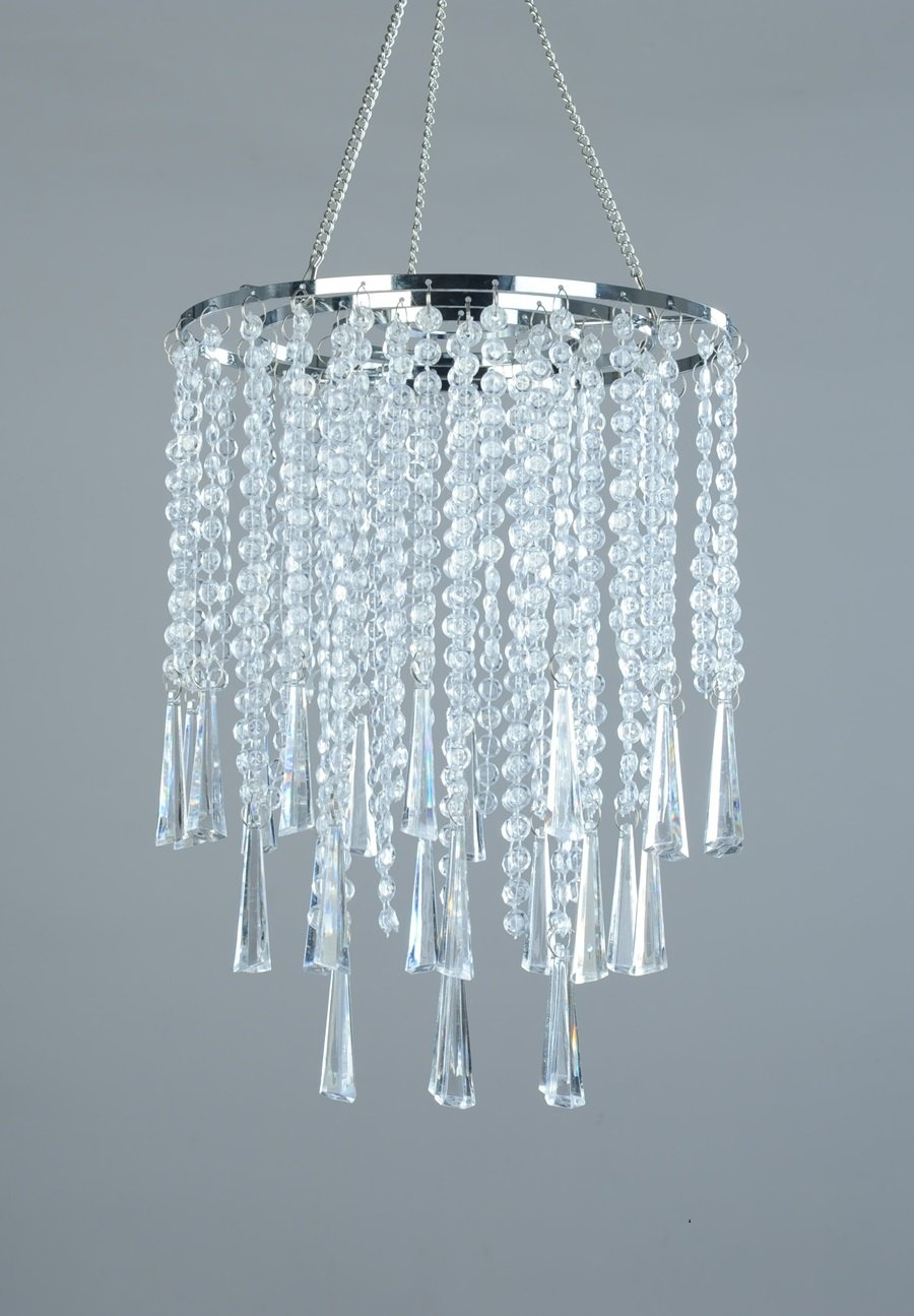 FlavorThings 3 Tiers Clear Acrylic Beaded Hanging Chandelier,Great idea for Wedding Chandeliers Centerpieces Decorations and any Event Party Home Decor