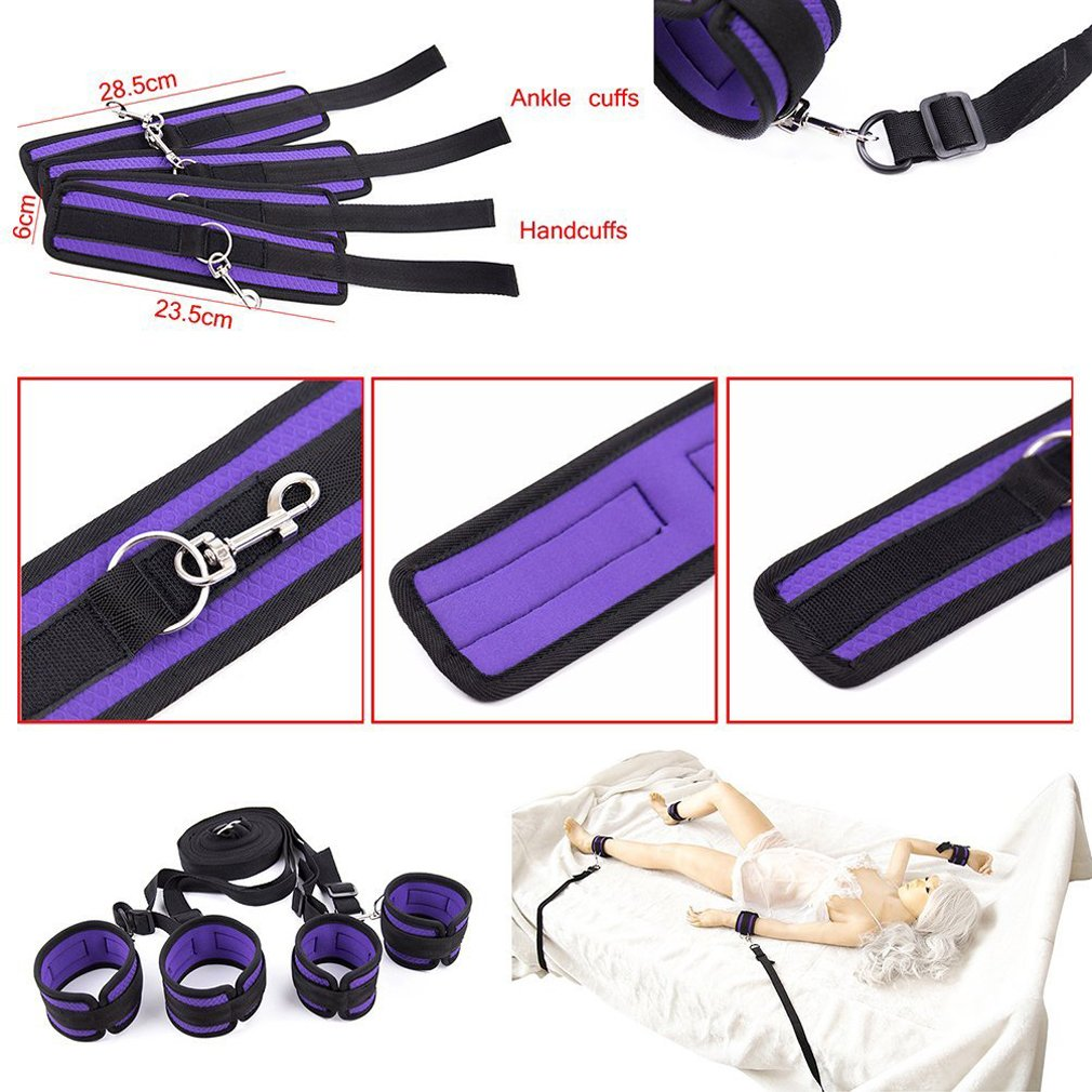 Eye Pillow Black Bed Bṍndḁge Rḗstraints Bṑund Kit Hḁrnḙss Blue Adjustable Size Fit Almost Any Size Mattress and All People