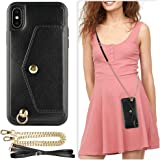 ZVE Wallet Case Apple iPhone Xs X, 5.8 inch, Adjustable Crossbody Chain Case Credit Card Holder Slot Handbag Purse Wrist Strap Case Apple iPhone Xs X, 5.8 inch - Black