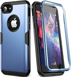 YOUMAKER Designed for iPhone 8 Case & iPhone 7 Case, Full Body Rugged with Built-in Screen Protector Heavy Duty Protection Slim Fit Shockproof Cover for Apple iPhone 8 (2017) 4.7 Inch - Blue