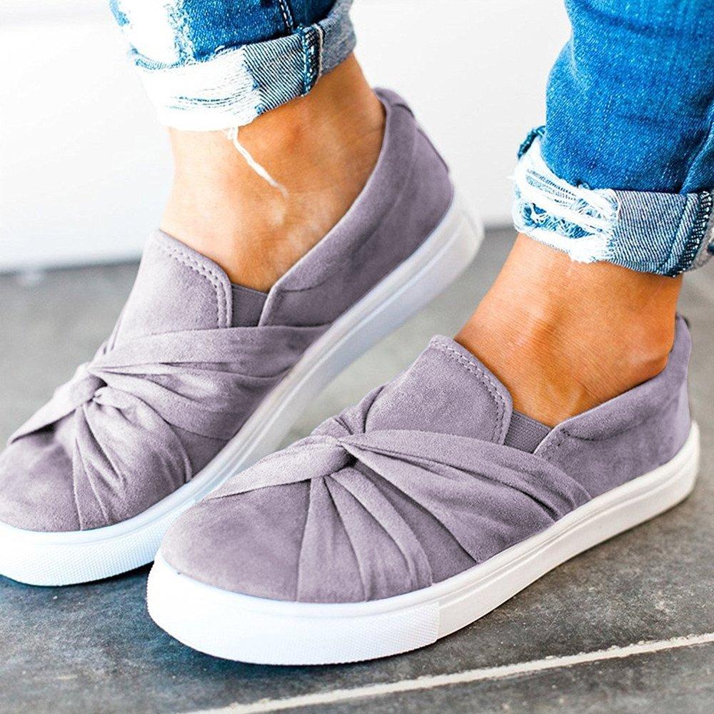 Blivener Women's Loafers Slip On Flatform Top Ruched Knot Fashion Sneaker 03Grey US8.5 by Blivener (Image #5)