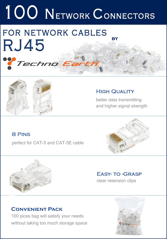 Epicdealz Cable Tester Crimp Crimper 100 Rj45 Cat5 Cat5e Connector Cat 5 Wiring Phone Jack With A Diagram Plug Network Tool Kit