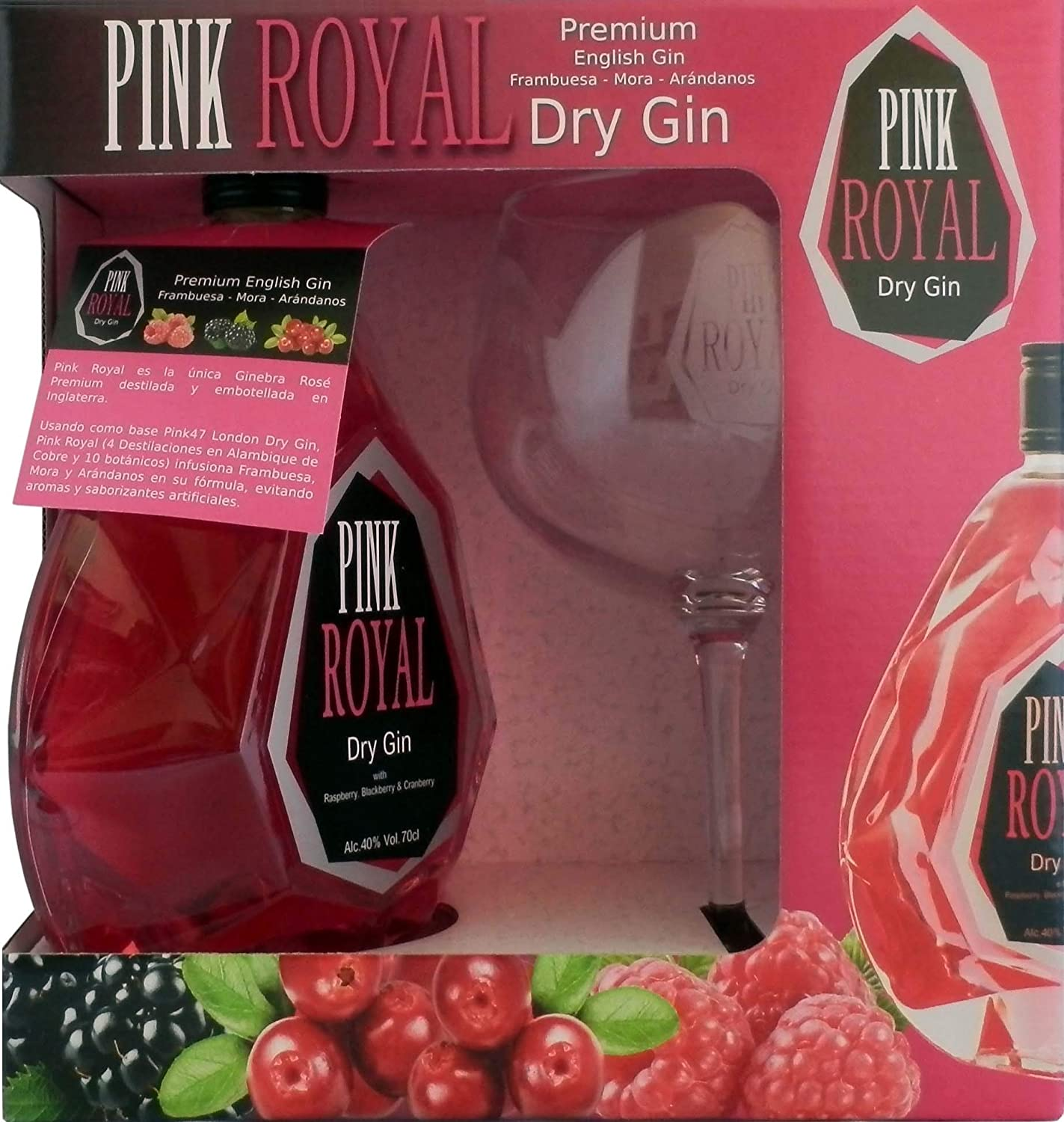 Pink Royal Ginebra Rosa Dry Gin Pack Copa Balón - 700 ml: Amazon ...