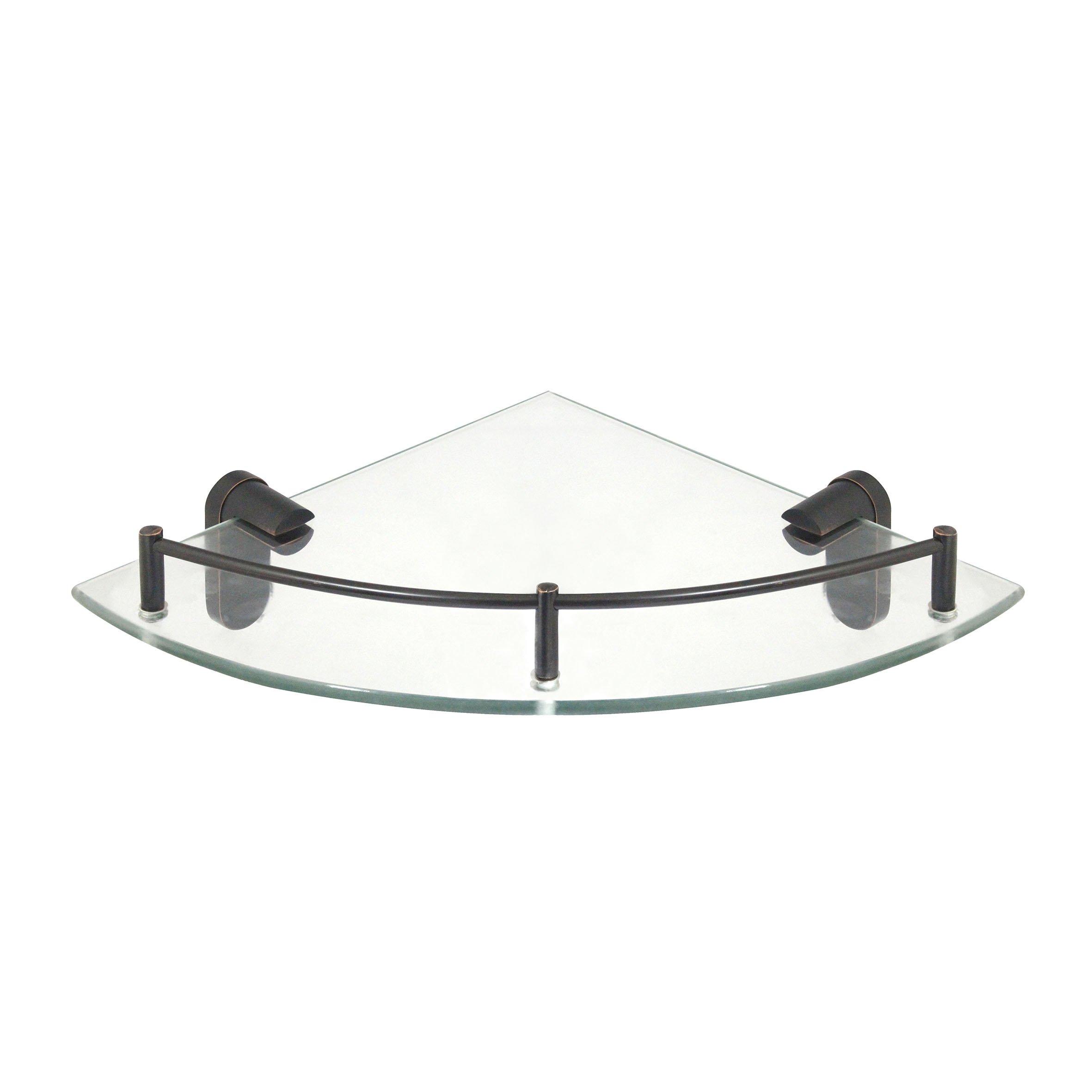 MODONA Corner Glass Shelf with Pre-installed Rail - RUBBED BRONZE - Oval Series - 5 Year Warrantee