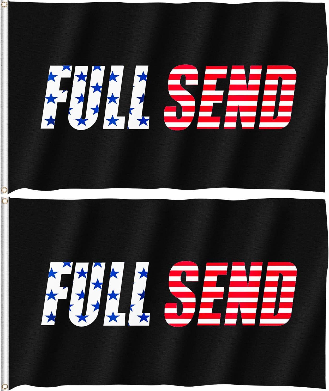 Full Send Flag Nelk Boys - 3x5 ft Black Fullsend Flag, 2 Pack Tapestry for College Dorm Room Sports Football Games Outdoor Beer Drinking Party Fraternities Yarn Indoor Gym University Garden Frat Wall